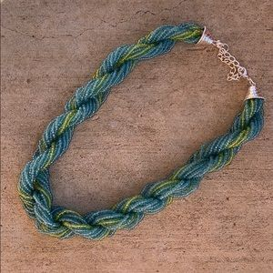 • green and turquoise twisted bead necklace •
